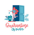 happy yound woman leaves home end vector image vector image