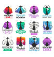 hookah lounge bar or smoke shop icons vector image