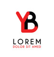 initial letter yb with red black and has rounded vector image vector image