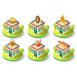 isometric public catering building icon set vector image