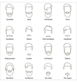 Mans hair set of beards and mustaches line vector image vector image