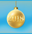 merry christmas 3d bauble decoration with 2018 vector image