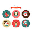 merry christmas icons retro style elements vector image