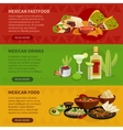Mexican Food 3 Horizontal Banners Set vector image vector image