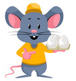 mouse with eggs on white background vector image vector image