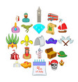 old icons set cartoon style vector image vector image