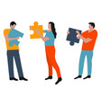 people connected puzzle pieces performing work vector image vector image
