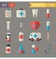 Retro Flat Medical Icons and Symbols Set vector image vector image
