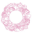 round frame with linear engraving graphic rose vector image