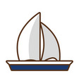 sailing boat travel on white background vector image