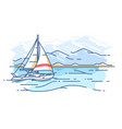 sailing yacht in sea vector image