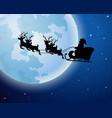 santa claus boarded a deer sledscenery moon vector image vector image