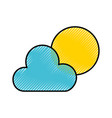 scribble sun and cloud vector image vector image