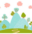 seamless border pattern with mountain hilly vector image vector image