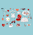 set cute icons for valentine s day isolated on vector image