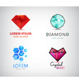 set of diamond crystal logos jewelry gem vector image vector image