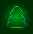 shiny christmas tree on dark green background vector image
