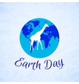 Silhouette of a giraffe over planet Earth Earth vector image vector image