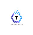 t blue hexagon letter logo with triangles vector image