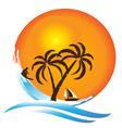 Tropical island paradise logo vector image vector image