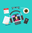 video content creating online on work desk table vector image vector image