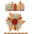 Vintage buildings seamless with pattern brush vector image vector image