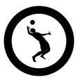 volleyball player hits the ball with top vector image