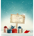 Winter christmas with a sign gift boxes and a vector image vector image