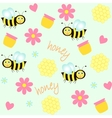 background with bees and honey vector image