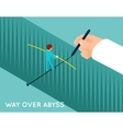 Hand drawing way over abyss for businessman vector image