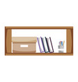 office wood shelf with books and box archive vector image