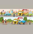 car evacuation horizontal banners vector image