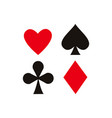 flat diamond club shade heart set vector image