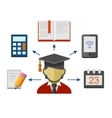 Set of Flat Style Concept Icons for Education vector image