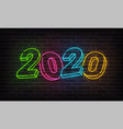 2020 new year neon background colorful merry vector image vector image