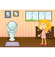 A girl in the bathroom vector image