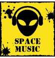 alien space music logo on yellow background vector image vector image