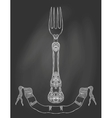 an ornamented fork on chalkboard vector image vector image