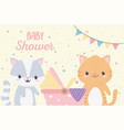bashower cute little raccoon and cat with pram vector image vector image