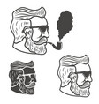 bearded man head with smoking pipe isolated on vector image vector image