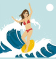 beautiful young woman surfing on ocean waves vector image