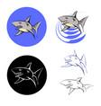 big shark icons vector image vector image