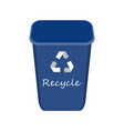 blue recycle bin with examples for the separation vector image