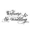 brush calligraphy welcome to wedding vector image vector image