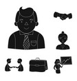 Business conference and negotiations black icons