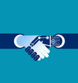 business human and robot hands shake concept vector image