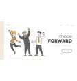 business team success celebration landing page vector image