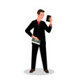 businessman holds and looks vector image