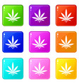 cannabis leaf icons 9 set vector image vector image