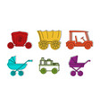 carriage vehicle icon set color outline style vector image